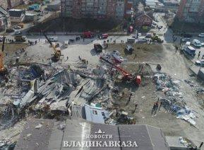 На улице Гагкаева во Владикавказе продолжают расчищать завалы